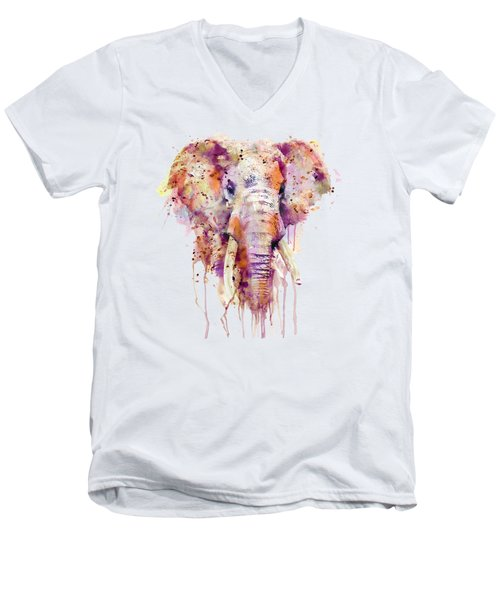 Elephant  Men's V-Neck T-Shirt by Marian Voicu