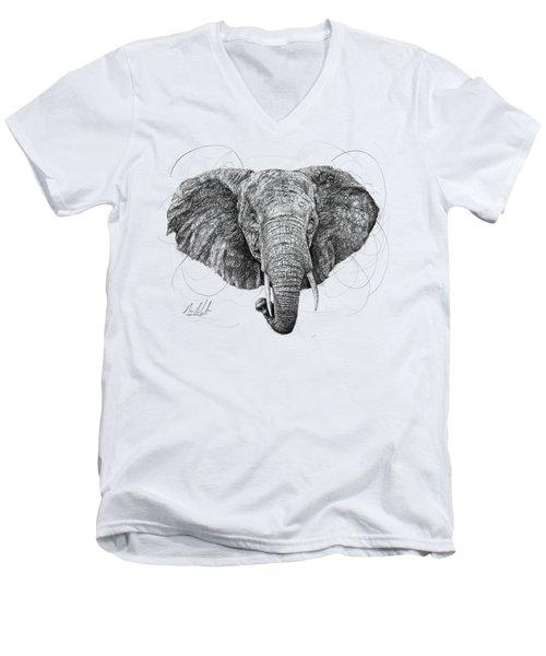 Elephant Men's V-Neck T-Shirt by Michael Volpicelli