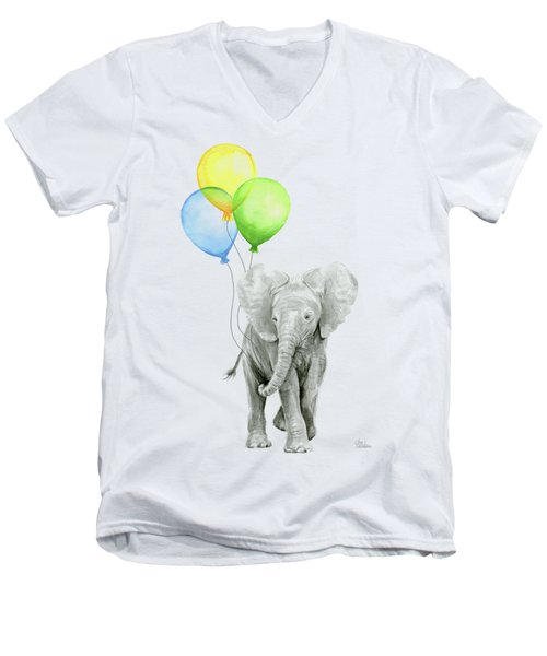 Elephant Watercolor Baby Animal Nursery Art Men's V-Neck T-Shirt