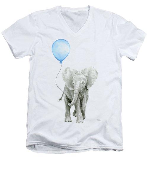 Elephant Watercolor Blue Nursery Art Men's V-Neck T-Shirt
