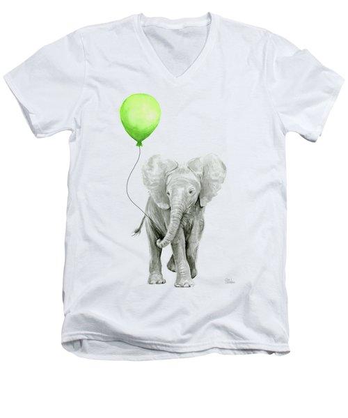Elephant Watercolor Green Balloon Kids Room Art  Men's V-Neck T-Shirt