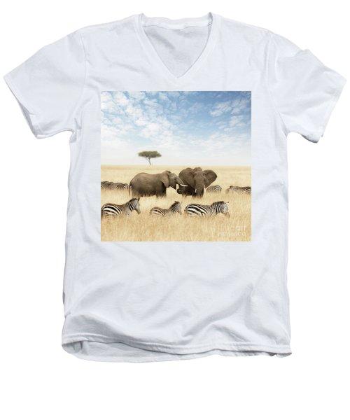 Elephants And Zebras In The Grasslands Of The Masai Mara Men's V-Neck T-Shirt