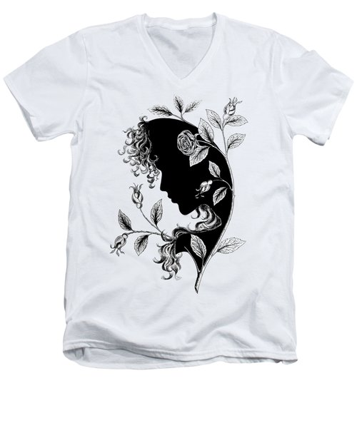 Elf In Roses Men's V-Neck T-Shirt by Magdalene's Art