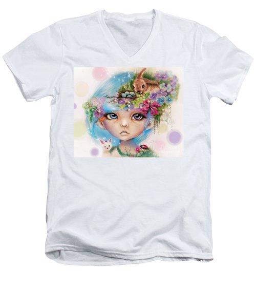 Men's V-Neck T-Shirt featuring the drawing Eliza - Easter Elf - Munhkinz Character by Sheena Pike