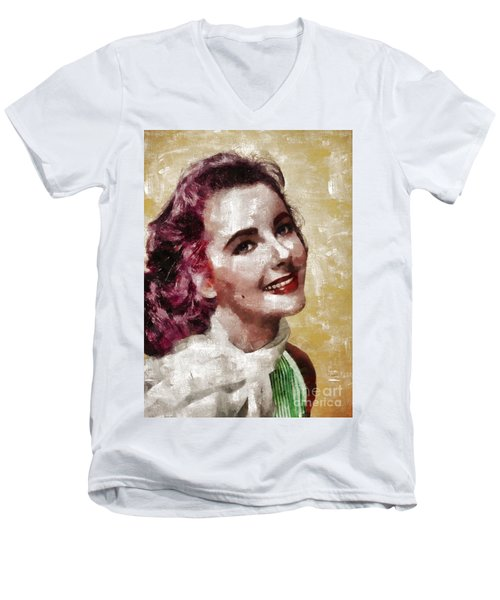 Elizabeth Taylor, Vintage Hollywood Legend By Mary Bassett Men's V-Neck T-Shirt