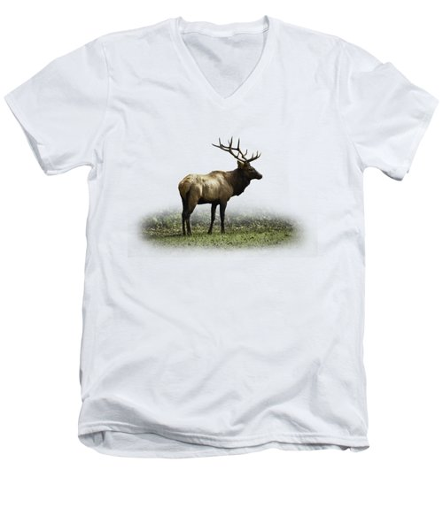 Men's V-Neck T-Shirt featuring the photograph Elk IIi by Debra and Dave Vanderlaan