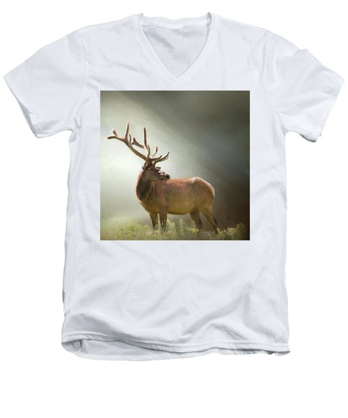 Men's V-Neck T-Shirt featuring the photograph Elk In Suns Rays by David and Carol Kelly