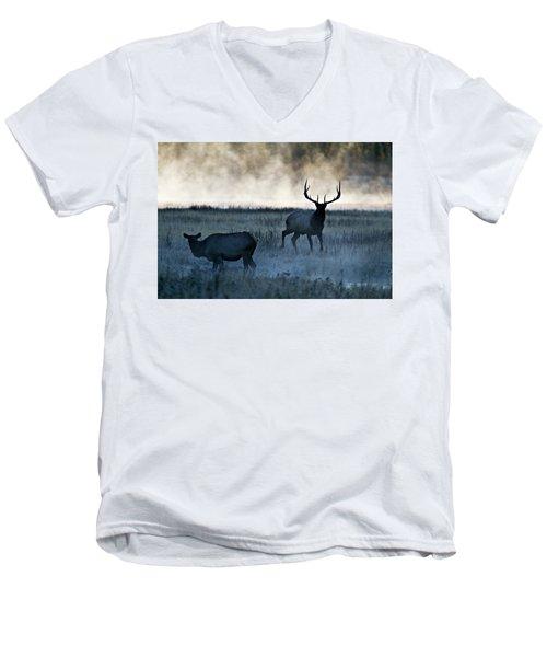 Elk In The Mist Men's V-Neck T-Shirt