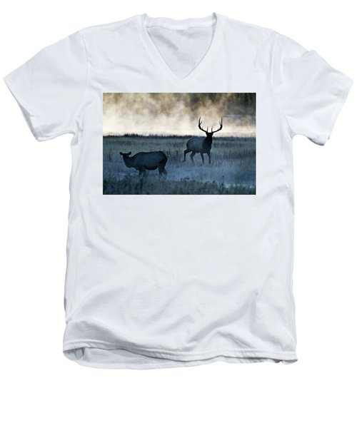 Men's V-Neck T-Shirt featuring the photograph Elk In The Mist by Wesley Aston