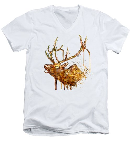 Elk In Watercolor Men's V-Neck T-Shirt by Marian Voicu