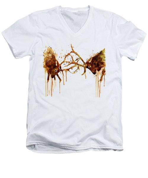 Elks Fight Men's V-Neck T-Shirt by Marian Voicu