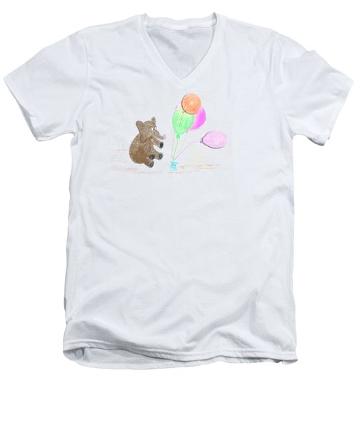 Ellie And Balloons Men's V-Neck T-Shirt by Judy Hall-Folde