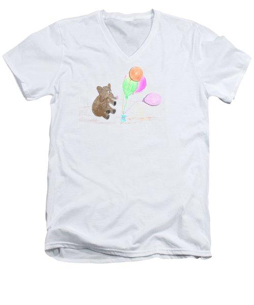 Ellie And Balloons Men's V-Neck T-Shirt