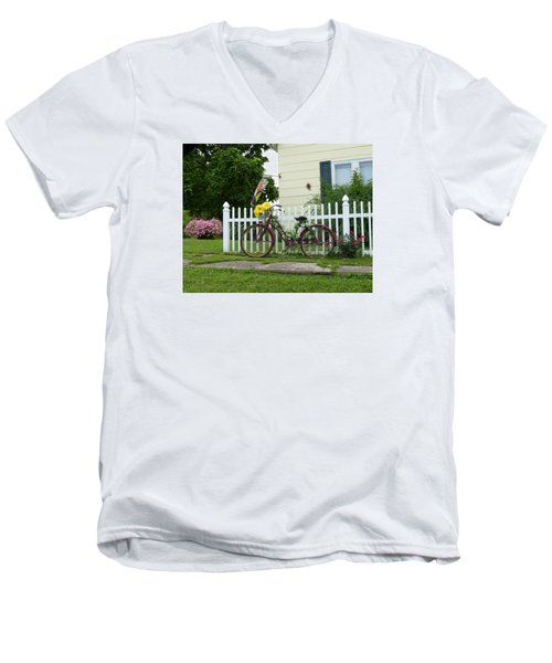 Men's V-Neck T-Shirt featuring the digital art Elmer Bicycle by Jana Russon
