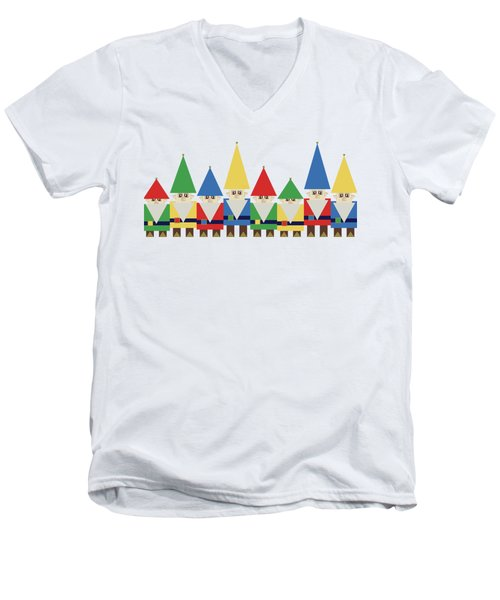 Elves On White Men's V-Neck T-Shirt