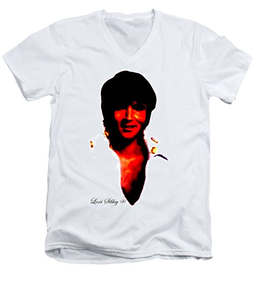 Elvis By Loxi Sibley Men's V-Neck T-Shirt by Loxi Sibley