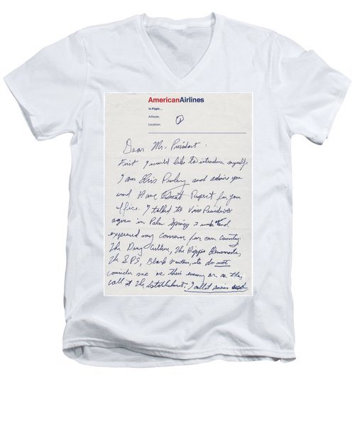 Elvis Presley Letter To President Richard Nixon Men's V-Neck T-Shirt