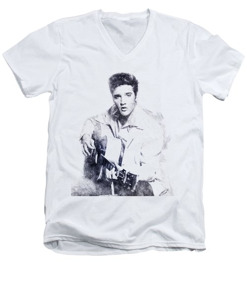 Elvis Presley Portrait 01 Men's V-Neck T-Shirt by Pablo Romero