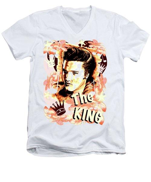 Elvis The King In Salmon Red Men's V-Neck T-Shirt by Gitta Glaeser