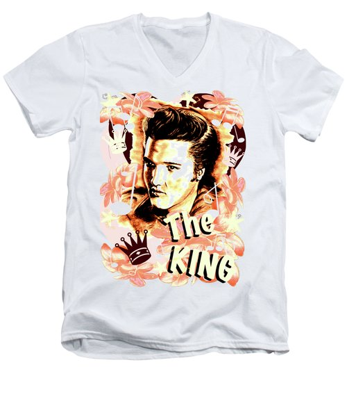 Elvis The King In Salmon Red Men's V-Neck T-Shirt