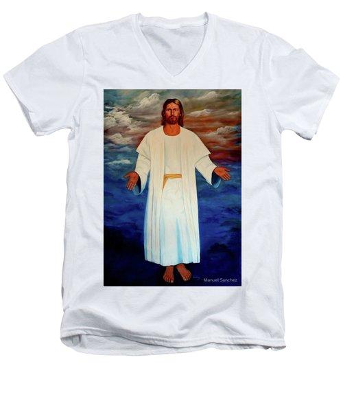 Emanuel Goes To His Father Men's V-Neck T-Shirt by Manuel Sanchez