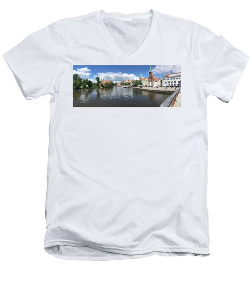 Embankment Of Trave In Luebeck Men's V-Neck T-Shirt