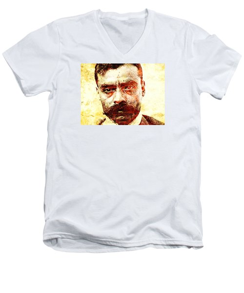 Emiliano Zapata Men's V-Neck T-Shirt by J- J- Espinoza