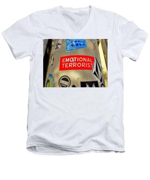 Emotional Terrorist In New York  Men's V-Neck T-Shirt by Funkpix Photo Hunter