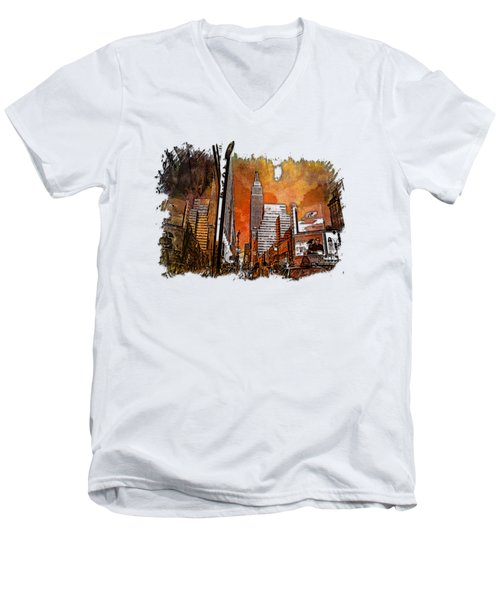 Empire State Reflections Earthy Rainbow 3 Dimensional Men's V-Neck T-Shirt by Di Designs