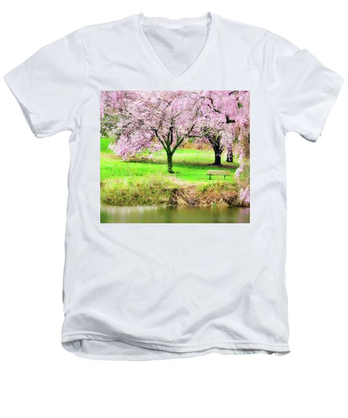 Men's V-Neck T-Shirt featuring the photograph Empty Bench Surrounded By Spring Colors by Gary Slawsky