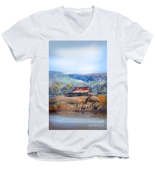 Men's V-Neck T-Shirt featuring the painting Emu And Chicks, Australian Landscape by Ryn Shell