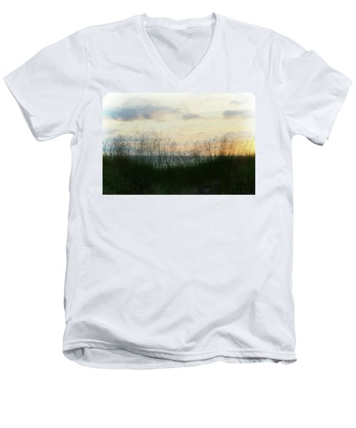 Men's V-Neck T-Shirt featuring the photograph End Of Day At Pentwater by Michelle Calkins