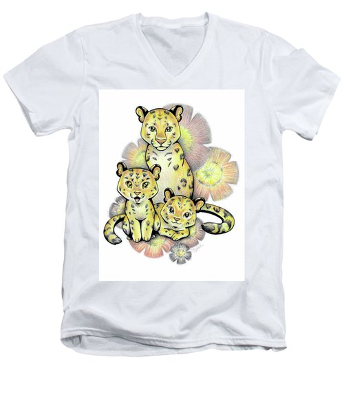 Endangered Animal Amur Leopard Men's V-Neck T-Shirt