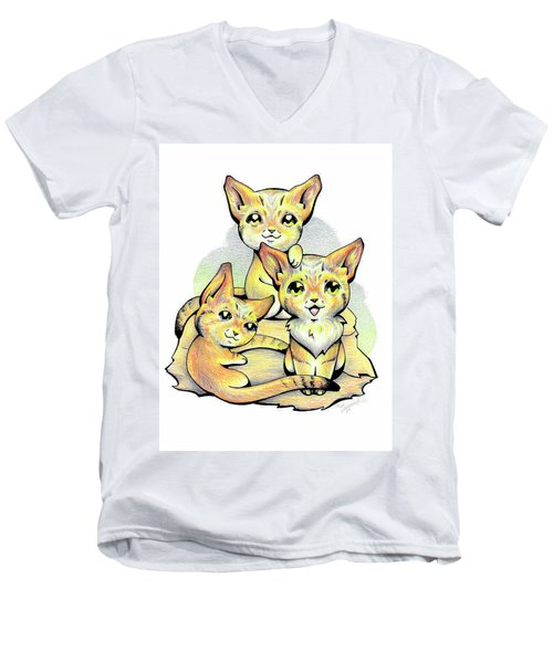 Endangered Animal Sand Cat Men's V-Neck T-Shirt