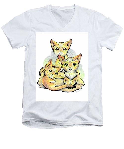 Endangered Animal Sand Cat Men's V-Neck T-Shirt