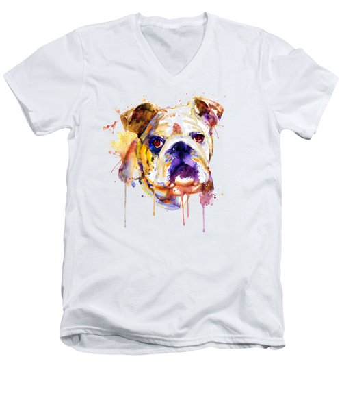 English Bulldog Head Men's V-Neck T-Shirt