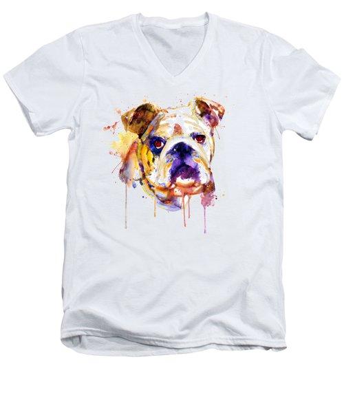 English Bulldog Head Men's V-Neck T-Shirt