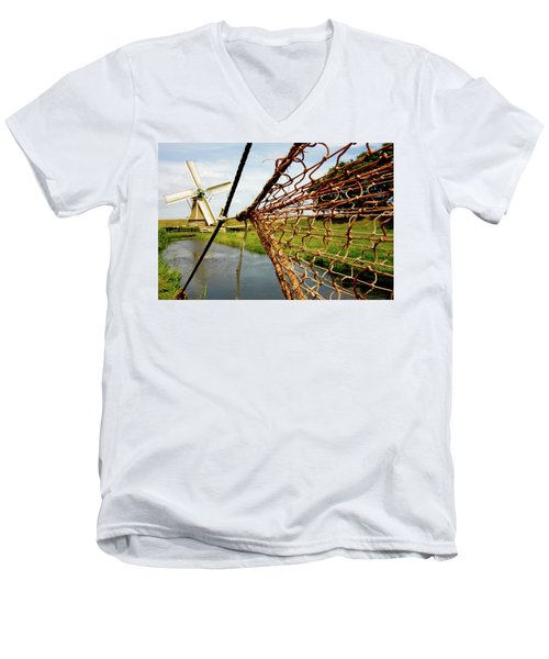 Men's V-Neck T-Shirt featuring the photograph Enkhuizen Windmill And Nets by KG Thienemann