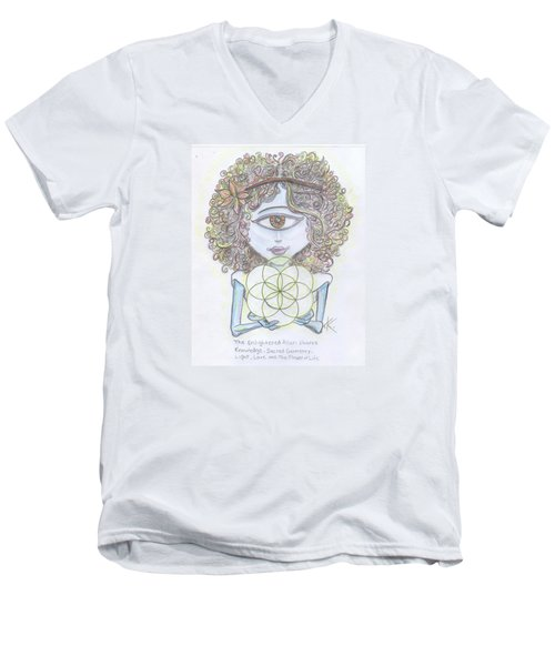 Men's V-Neck T-Shirt featuring the drawing Enlightened Alien by Similar Alien