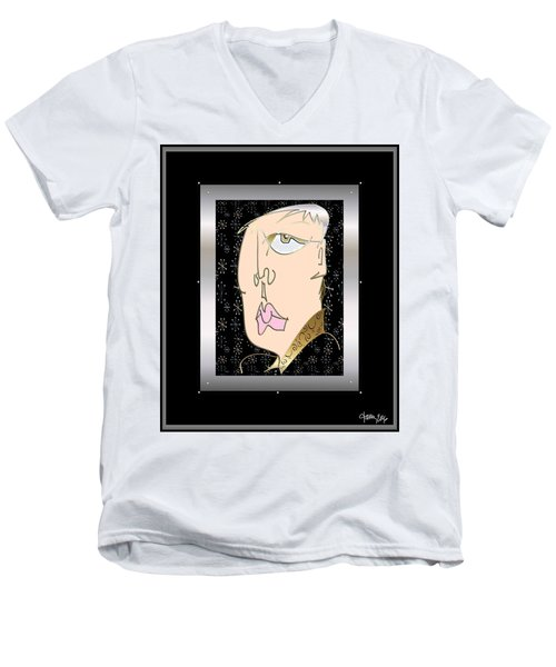 Men's V-Neck T-Shirt featuring the digital art Ennui by Larry Talley