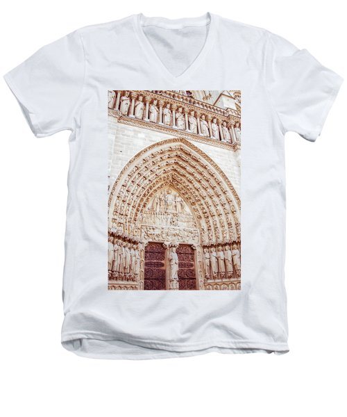 Entrance To Notre Dame Cathedral Men's V-Neck T-Shirt