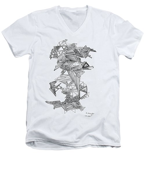 Epitaxy Ink Drawing By Regina Valluzzi Men's V-Neck T-Shirt