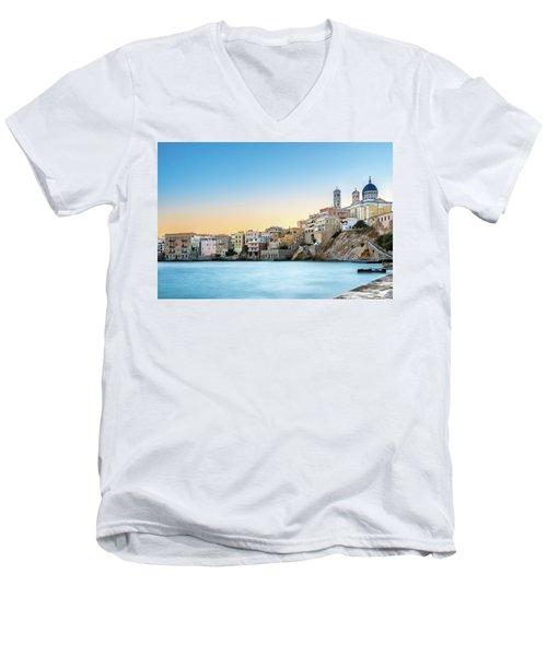 Ermoupoli - Syros / Greece. Men's V-Neck T-Shirt by Stavros Argyropoulos
