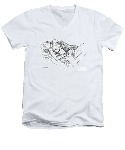 Erotic Art Drawings 7 Men's V-Neck T-Shirt