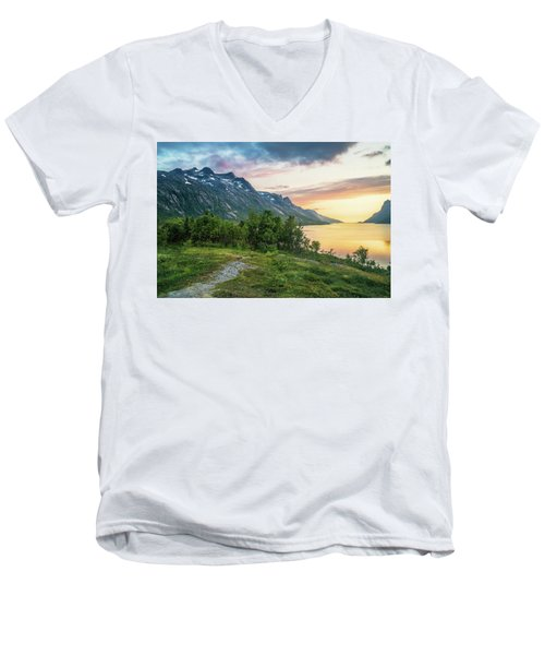 Ersfjord Sunset Men's V-Neck T-Shirt