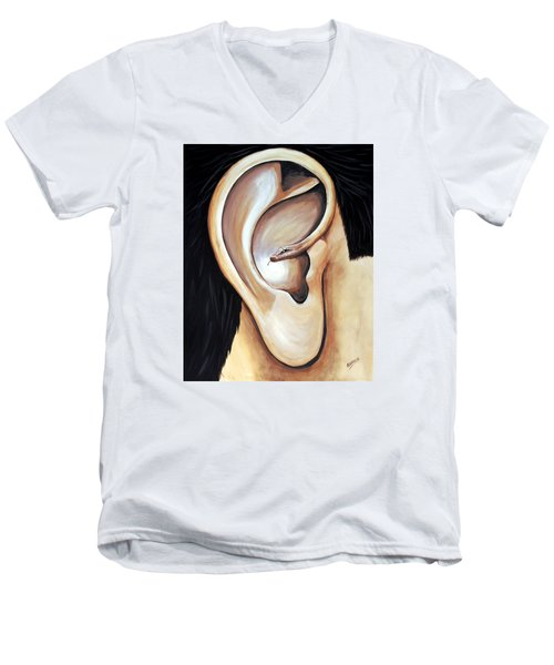 Men's V-Neck T-Shirt featuring the painting Lengua Detractora by Edwin Alverio