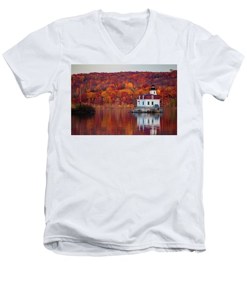 Men's V-Neck T-Shirt featuring the photograph Esopus Lighthouse In Late Fall #1 by Jeff Severson