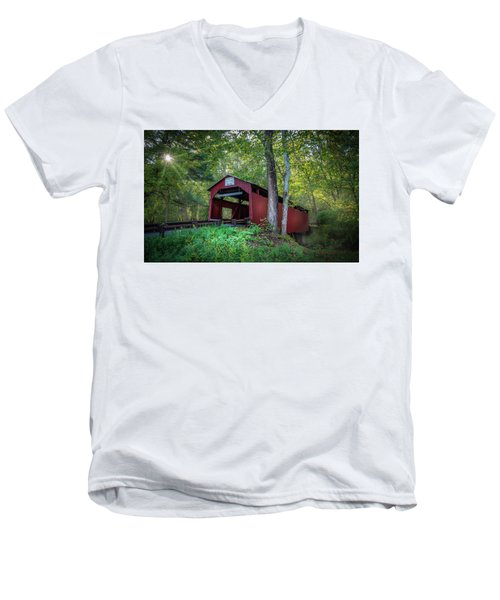 Men's V-Neck T-Shirt featuring the photograph Esther Furnace Bridge by Marvin Spates