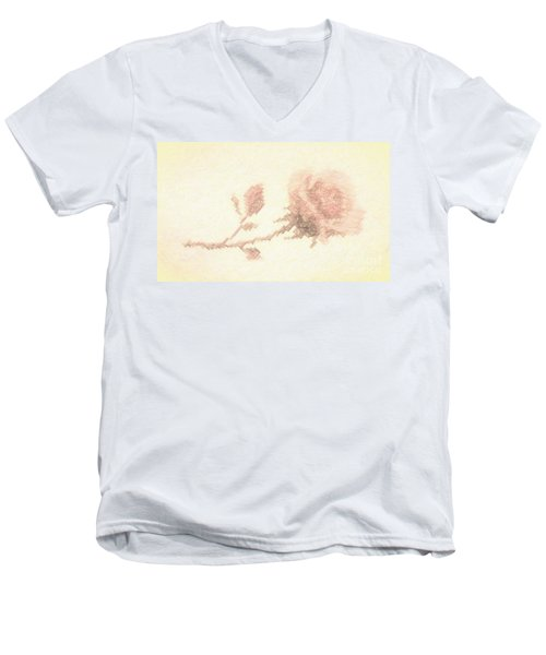 Men's V-Neck T-Shirt featuring the photograph Etched Red Rose by Linda Phelps