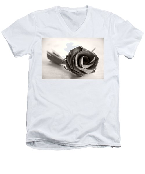Eternal Rose In Sepia Men's V-Neck T-Shirt
